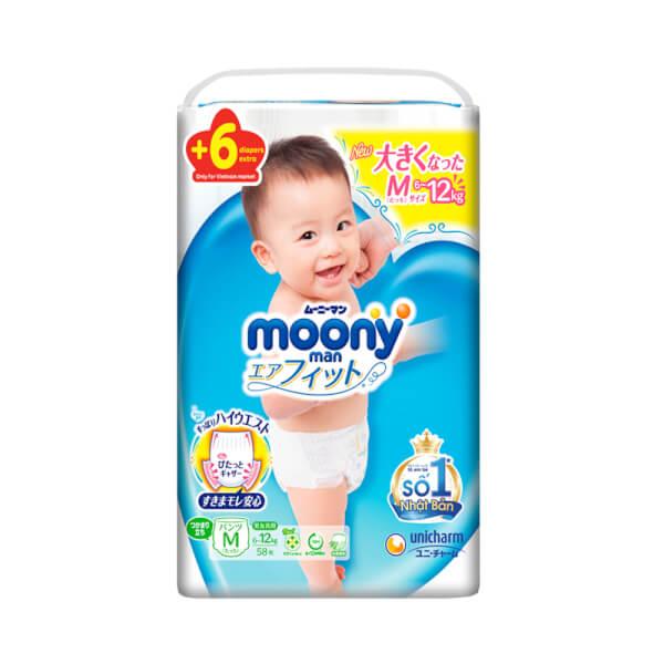 Bỉm tã quần Moony size M 58 + 6 miếng (6-11kg)