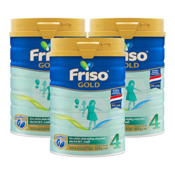 Combo 3 lon Friso Gold 4, 2 – 6 tuổi (850gr)
