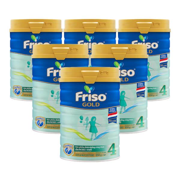 Combo 6 lon Friso Gold 4, 2 – 6 tuổi (850gr)