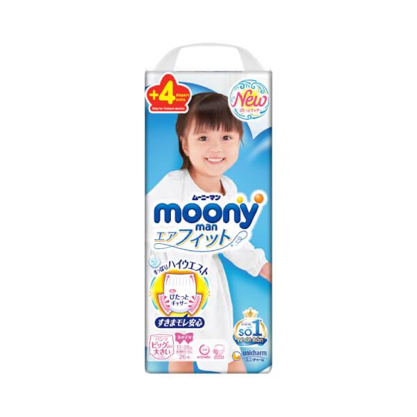 Bỉm tã quần Moony bé gái size XXL 26 + 4 miếng (13-28kg)