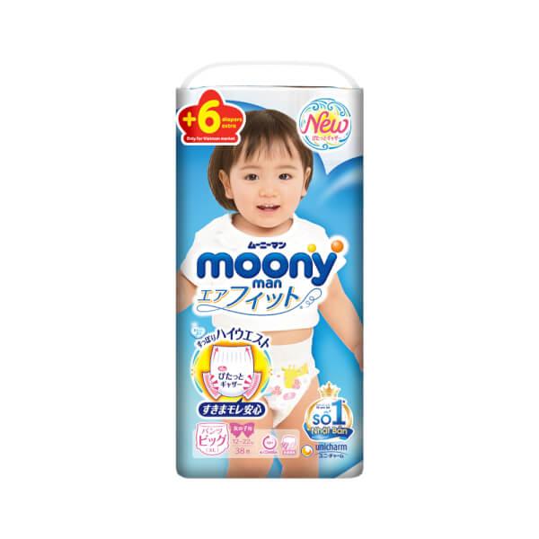 Bỉm tã quần Moony bé gái size XL 38 + 6 miếng (12-22kg)