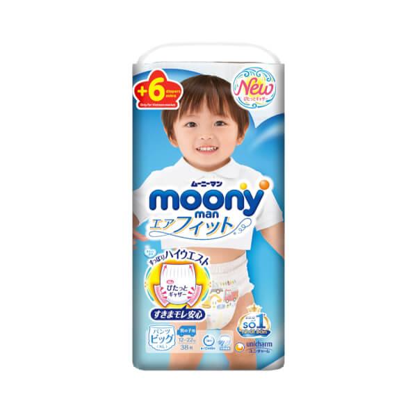 Bỉm tã quần Moony bé trai size XL 38 + 6 miếng (12-22kg)