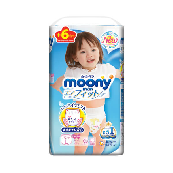 Bỉm tã quần Moony bé gái size L 44 + 6 miếng (9-14kg)