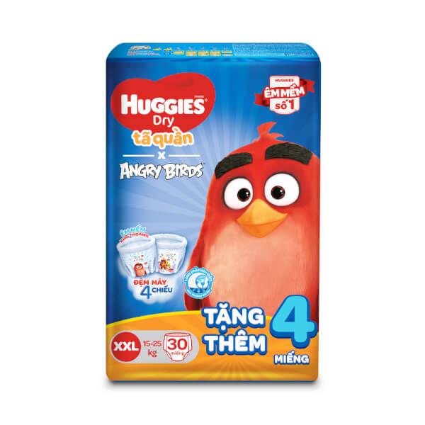 Tã quần Huggies Dry Pants (XXL, 15 – 25kg, 30 miếng) + 4 miếng
