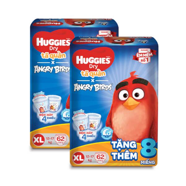 Combo 2 gói bỉm tã quần Huggies Dry (XL, 12-17kg, 62 miếng) + 8 miếng