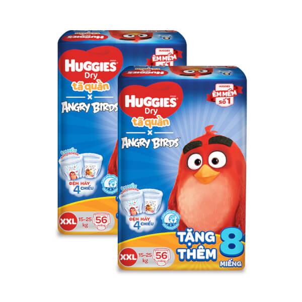 Combo 2 gói bỉm tã quần Huggies Dry (XXL, 15 -25 kg, 56 miếng) + 8 miếng