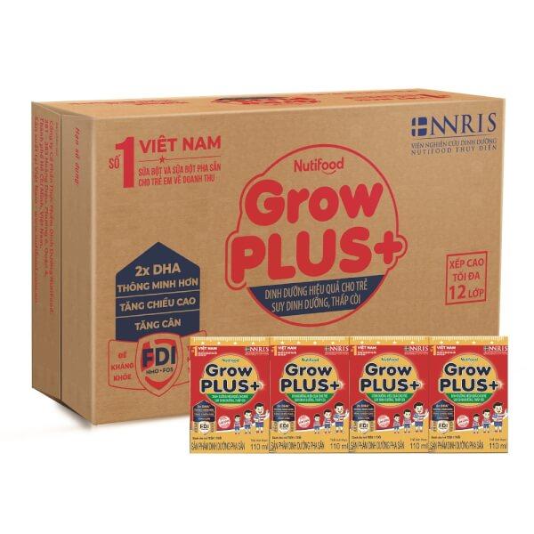 Thùng sữa GrowPLUS+ Hộp 110ml (lốc 4 hộp)