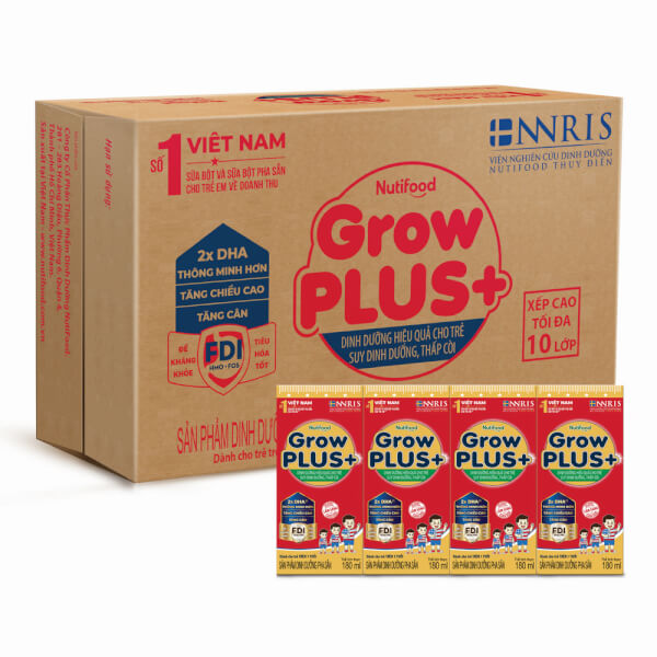 Thùng sữa GrowPLUS+ Hộp 180ml (lốc 4 hộp)