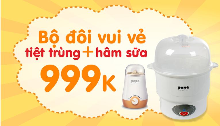 Bộ đôi máy tiệt trùng sữa, máy hâm sữa 999k