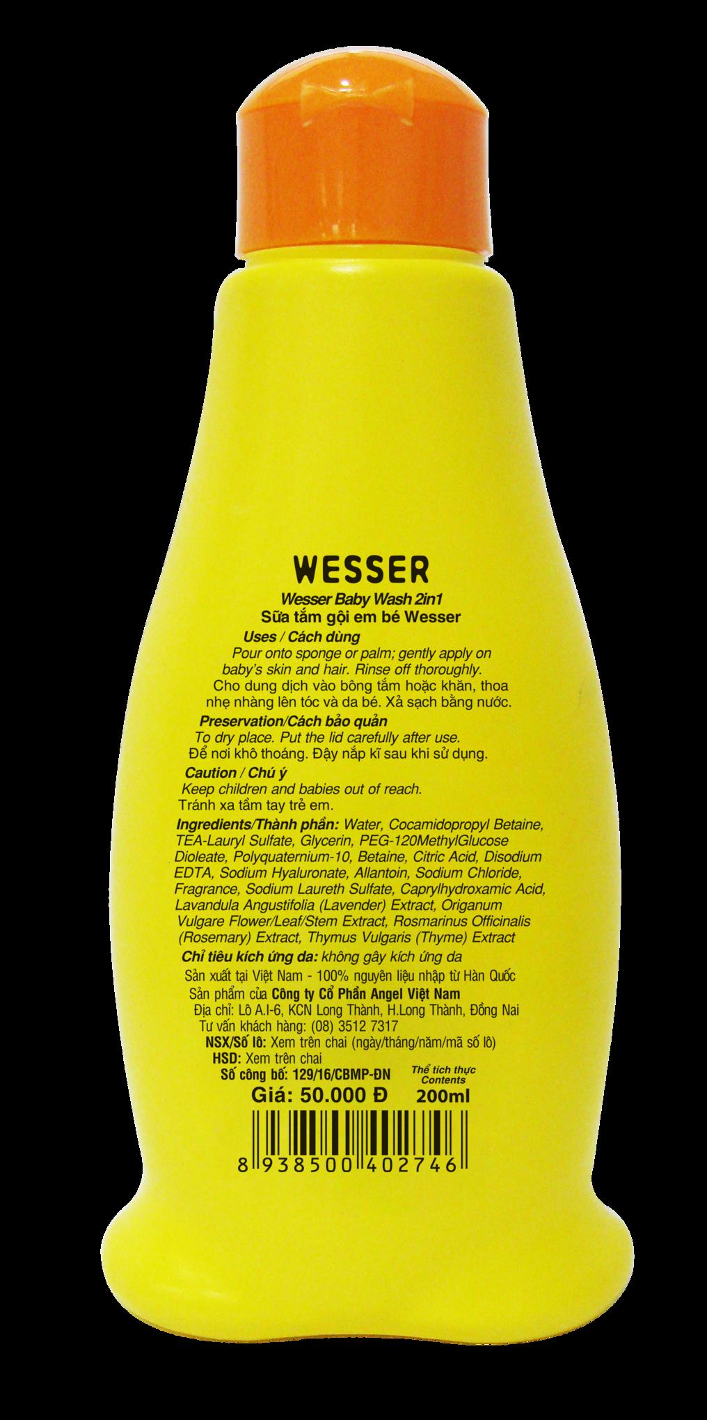 Sữa tắm gội Wesser 2 in 1 200ml (cam) (Sau)