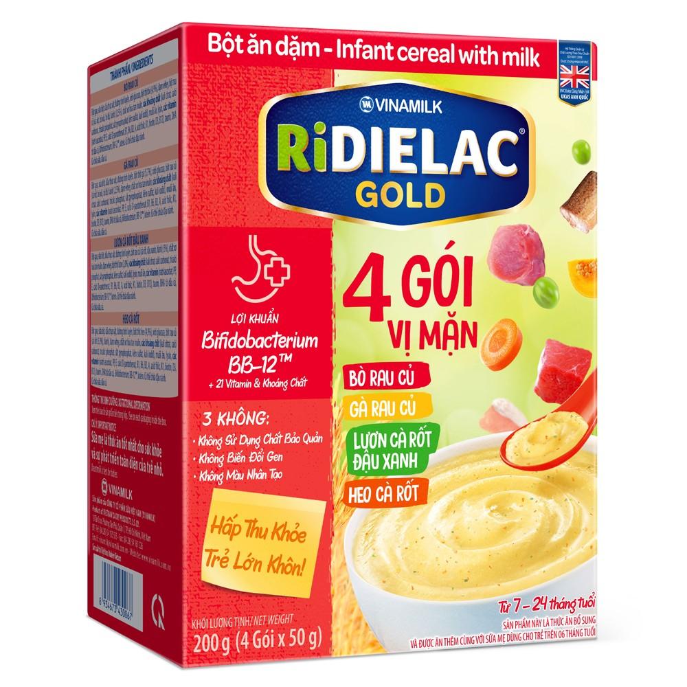 Bột ăn dặm Ridielac Gold 4 Vị Mặn HG 200g
