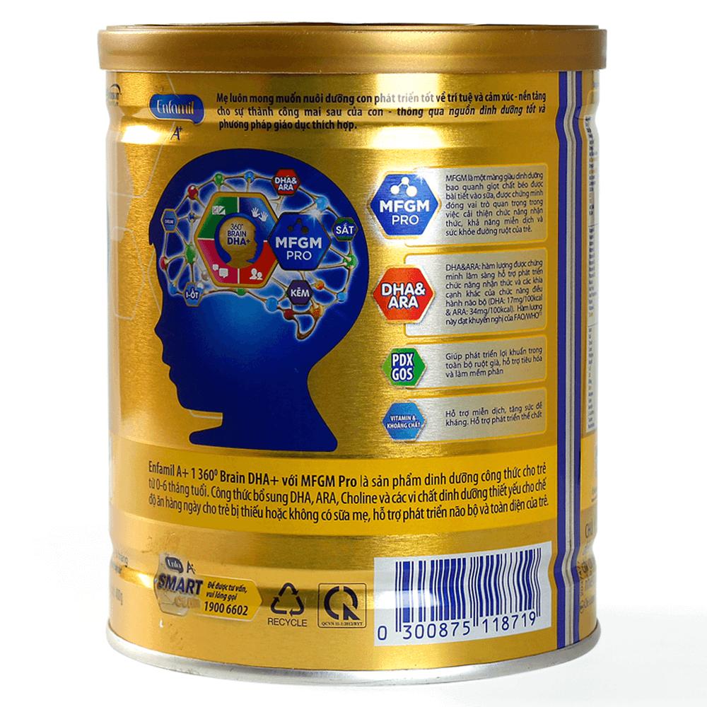 Sữa Enfamil A + 1 400g 360° Brain DHA+ với MFGM PRO2