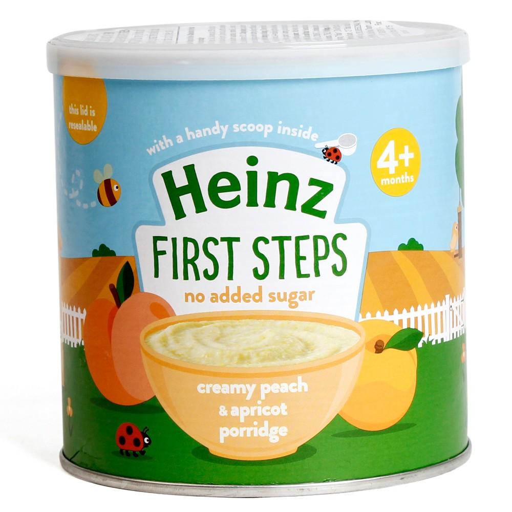 Cháo kem Đào mơ 4+   Heinz Creamy peach & apricot porridge 4+.01
