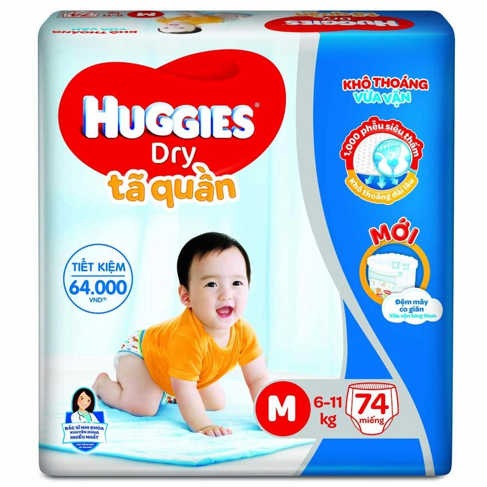 Tã quần Huggies Dry Pants gói cực đại M,6-11kg, 74 miếng