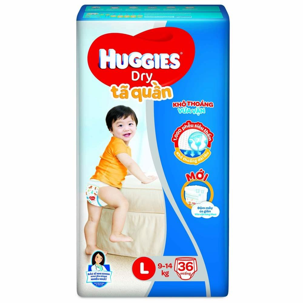 Tã quần Huggies Dry Pants L, 9-14kg, 36 miếng