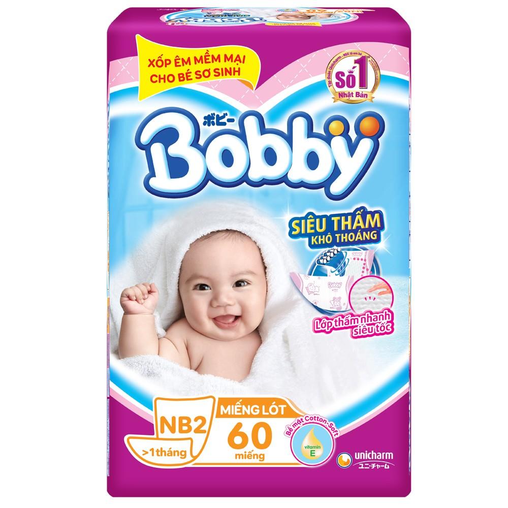 Miếng lót Bobby Fresh Newborn 2 Jumbo, 4-7kg, 60 miếng