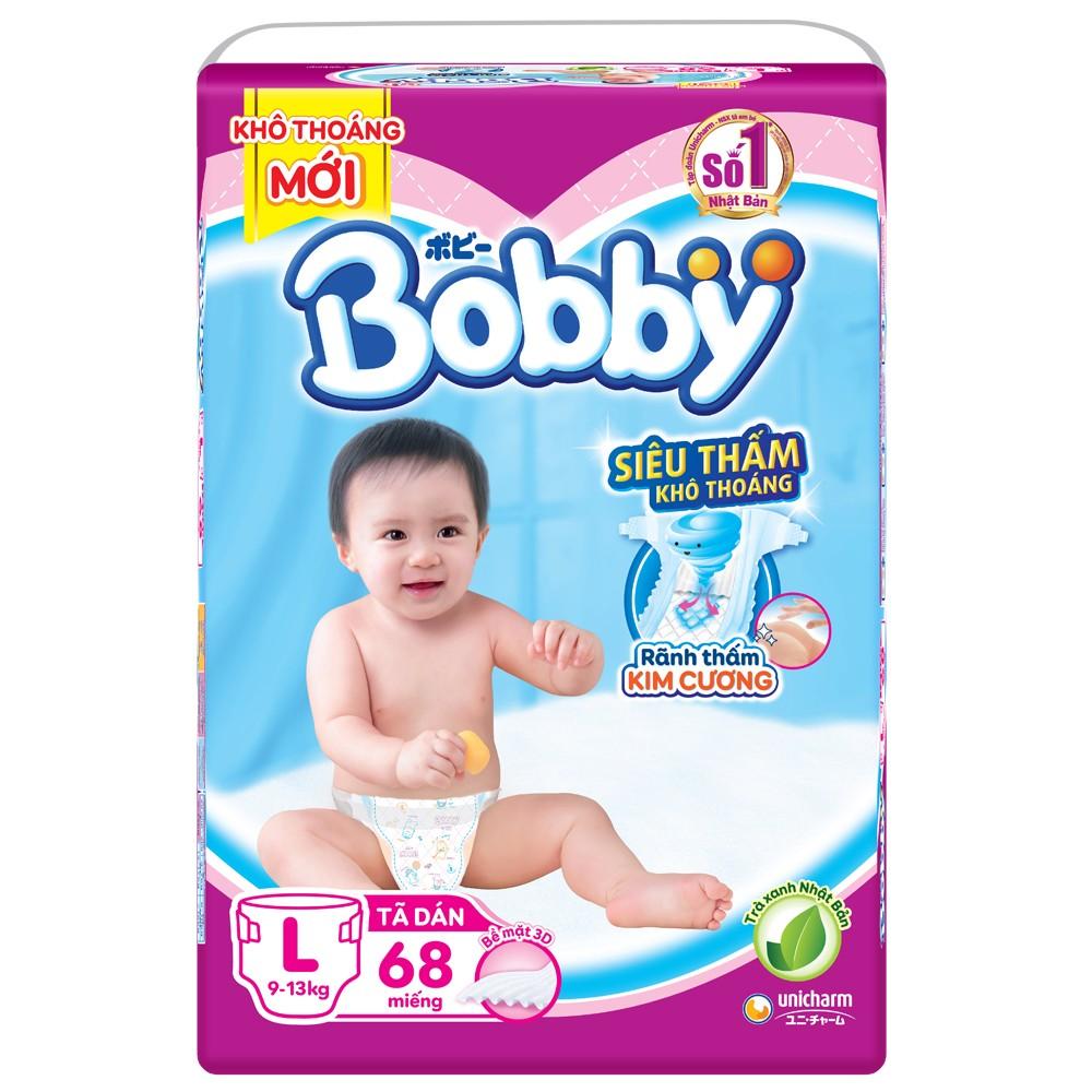 Tã dán Bobby Jumbo siêu mỏng (L, 9-13kg, 68 miếng)