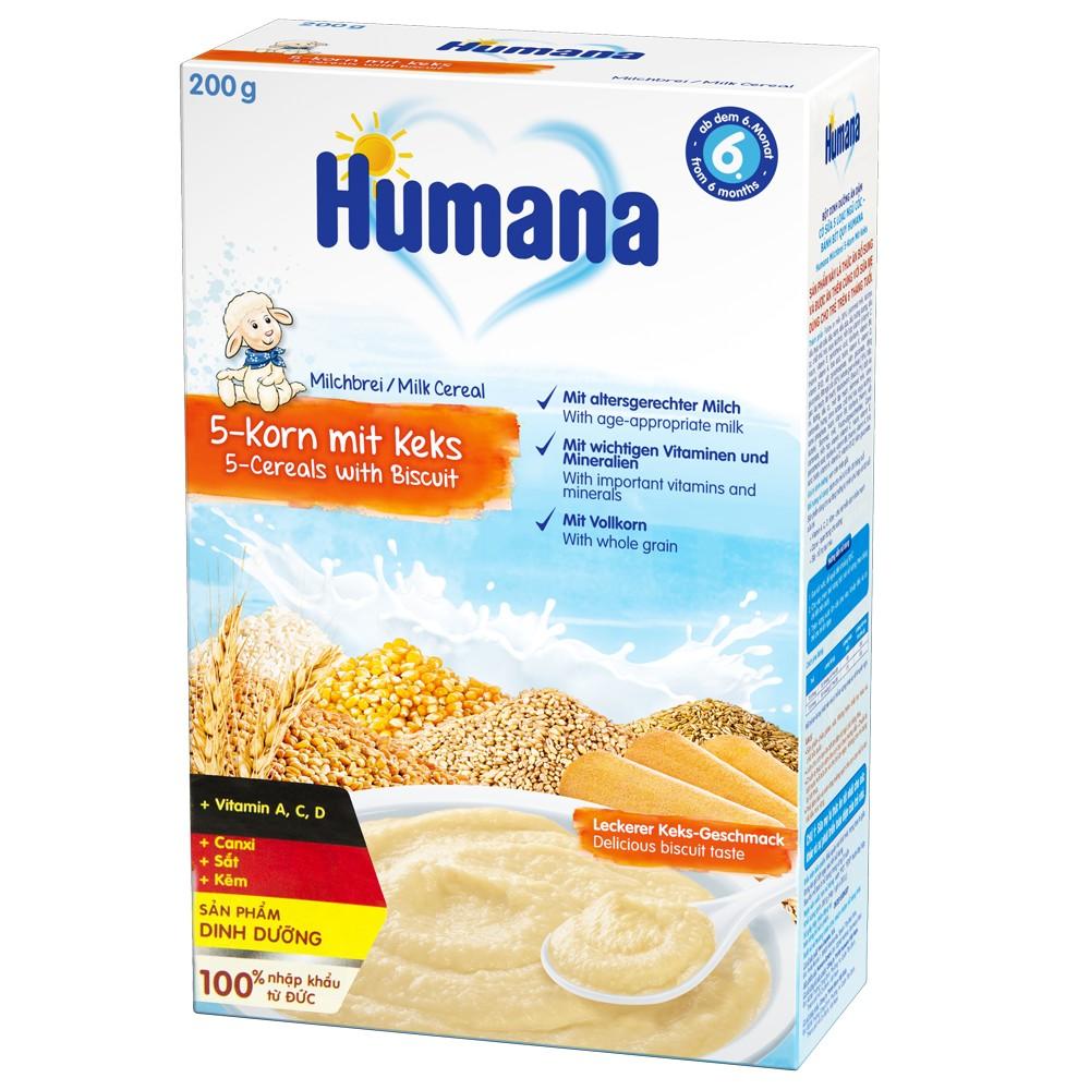 Bột dinh dưỡng ăn dặm Humana có sữa 5 loại ngũ cốc-bánh bít quy - Humana Milchbrei 5-Korn Mit Keks1